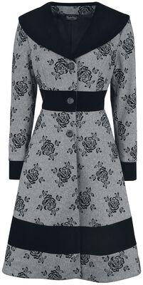 Flo Flocked Floral Wide Collar Flare Coat