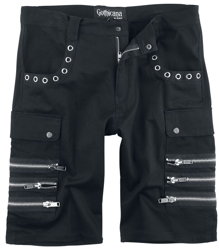 Black Army Shorts with Eyelets and Decorative Zips