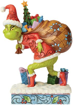 Tip-Toeing Grinch with Bag of Gifts Over Shoulder