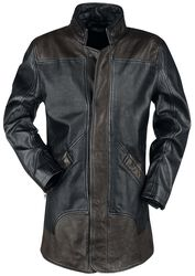 Brown/Black Leather Coat with Zip at the Back