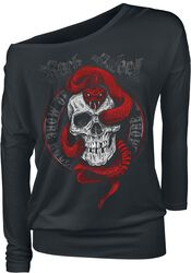 Black Long-Sleeve Shirt with Print and Crew Neckline