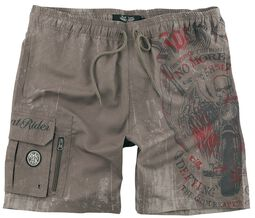 Sand-Coloured Swim Shorts with Prints and Pockets