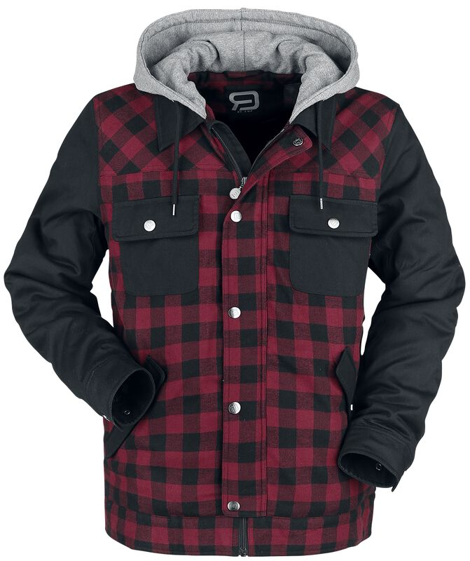 Black/Red Lumberjack Jacket with Black Sleeves