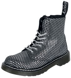 1460 Pascal Junior Black Silver Stars Designer Suede Ds-318