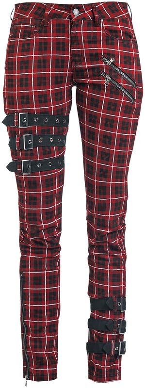 Skarlett - Red/Black Checked Trousers with Buckle Details