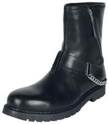 Black boots with zips, decorative straps and chain