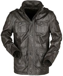 Brown Leather Jacket with Pockets