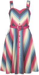Serene Rainbow Gingham Flare Dress