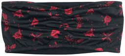 Black Bandeau with Red All-over Print
