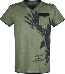 Olives T-Shirt mit V-Ausschnitt und Print