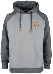 Grey Hooded Jumper with Raglan Sleeves
