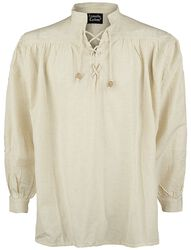Medieval Lace-Up Shirt with Standing Collar