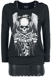 Black long sleeve shirt with print and top with studs