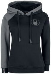Black/Grey Hoodie with Rockhand Appliqué and Embroidery