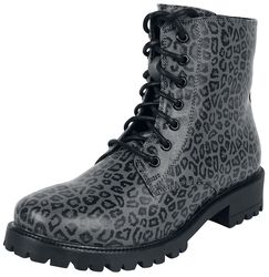 Grey Lace-Up Boots with Leopard Print