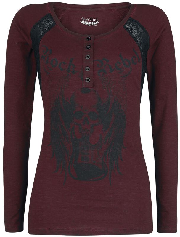 Long sleeve shirt with print and lace