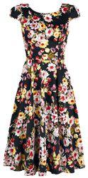 Black Floral Vintage 50s Prom Swing Flared Dress