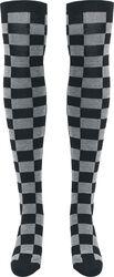 Ladies Checkerboard Overknee Socks