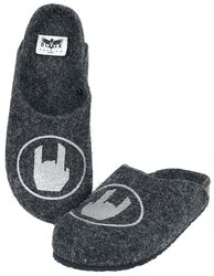 Grey Slippers with Rockhand Print