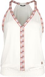 RED X CHIEMSEE - White Top with Multicoloured Seams
