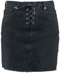 Front Knotted Five Pocket Denim Skirt