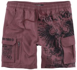 Red Swim Shorts with Prints and Pockets