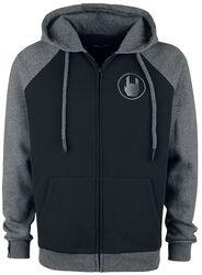 Black/Grey Hooded Jacket with Raglan Sleeves