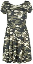 Dress with Camouflage Pattern and Decorative Lacing