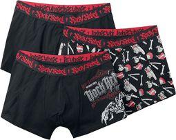 Black Boxershorts Set with Prints