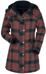 Black/Red Jacket with Checked Print