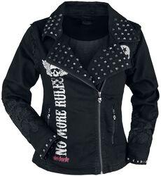 Black Between-Seasons Jacket with Studs and Print