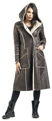 Brown Faux Leather Coat with Open Seams