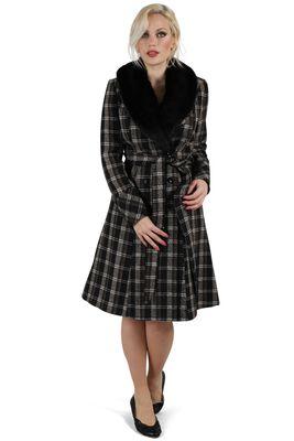 Kara Sea Double Breasted Plaid Dress Coat