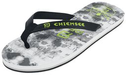 RED X CHIEMSEE - White/Black Flip Flops with Logo Print