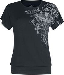 Sport und Yoga - Schwarzes lockeres T-Shirt mit detailreichem Print