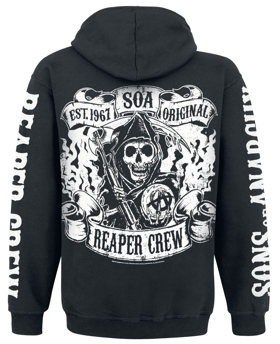 reaper crew sons of anarchy bluza z kapturem rozpinana emp. Black Bedroom Furniture Sets. Home Design Ideas