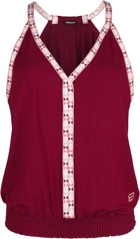 RED X CHIEMSEE - Red Top with Multi-Coloured Seams