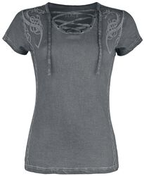 Grey T-shirt with Lacing and Print