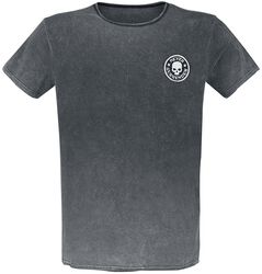T-shirt with washing and patch